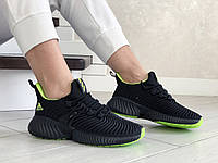 Кроссовки женские Adidas Alphabounce черные с салатовым, фото 1
