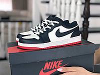 Кроссовки женские Nike Air Jordan 1 Low темно синие с белым/красные, фото 1