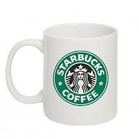 Біла кружка (чашка) з принтом Starbucks Logo