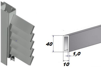 Ламели прямоугольные (40*10*1,0) для изготовления ставней жалюзи