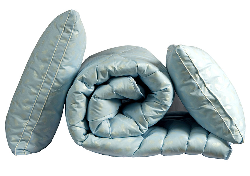 """ТМ TAG Одеяло лебяжий пух """"Голубое"""" евро + 2 подушки 70х70"""