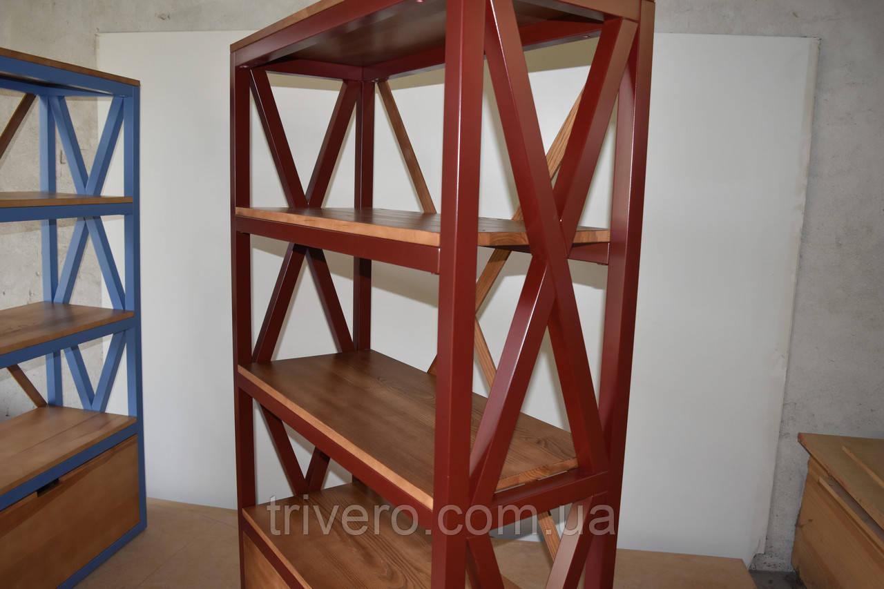 Книжный стеллаж из дерева в стиле лофт