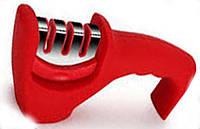 Точилка механическая для кухонных ножей Benson BN-5 красная | ножеточка в 3 этапа: от правки до идеальной заточки, фото 1