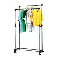 Подвійна телескопічна вішалка стійка для одягу підлогова Double Pole Clothers Horse (30 кг)