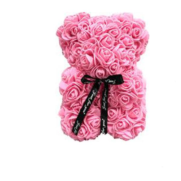 Гарний ведмедик з латексних 3D троянд 40 см з стрічкою в подарунковій коробці | Рожевий