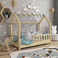 VitaliSpa детская кровать-домик с забором 76x148см, натуральное дерево