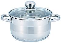 Кастрюля с крышкой из нержавеющей стали Benson BN-217 (1.8 л) | набор посуды | кастрюли Бенсон, фото 1