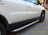 """Боковые пороги """"Fullmond"""" (площадка, ступенька) Volkswagen Tiguan 2007+"""
