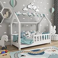 VitaliSpa детская кроватка - домик с забором 76x148см, натуральное дерево, белый
