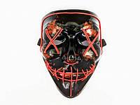 """Светящаяся неоновая LED маска """"Судная ночь"""" красная   лед маска для вечеринок светится неоном в темноте, фото 1"""