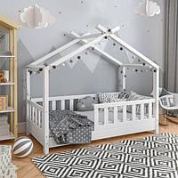 VitaliSpa детская кровать домик с бортиками 77x148 см, натуральное дерево, цвет белый