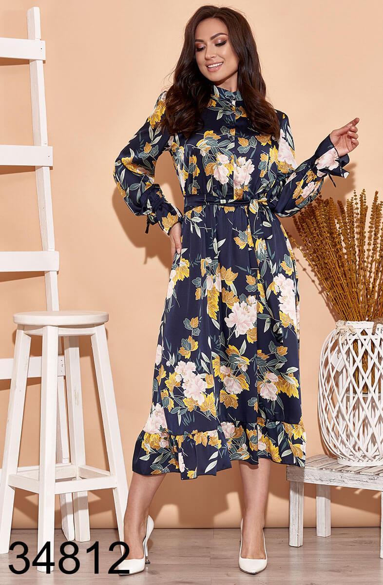 Цветочное весеннее платье с цветочным принтом р.50-52, 54-56