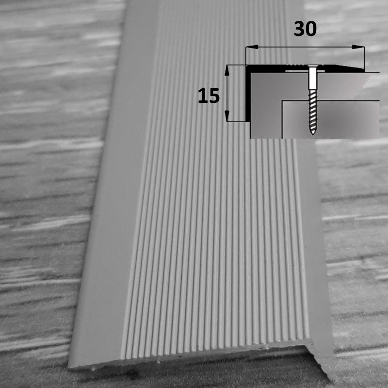 Угловой лестничный порог из алюминия для ступеней 15 мм х 30 мм