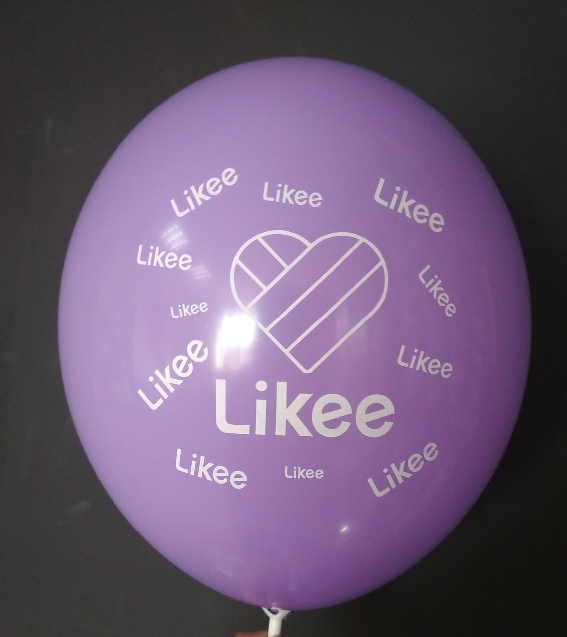 """Латексна кулька з малюнком Likee лавандовий 009 12"""" 30см Belbal ТМ """"Star"""""""
