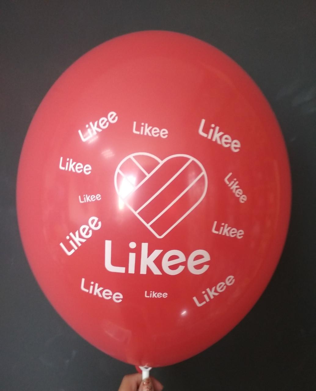 """Латексна кулька з малюнком Likee червоний 001 12"""" 30см  Belbal ТМ """"Star"""""""