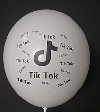 """Латексна кулька з малюнком Tik Tok білий 002 12"""" 30см Belbal ТМ """"Star"""""""