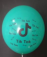 """Латексна кулька з малюнком Tik Tok бірюзовий 005 12"""" 30см Belbal ТМ """"Star"""""""