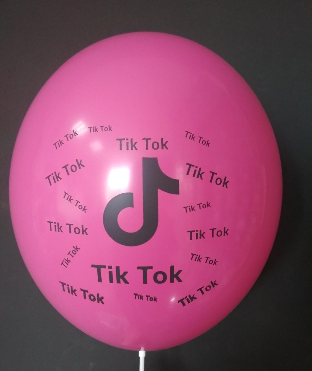 """Латексна кулька з малюнком Tik Tok фуксія 010 12"""" 30см Belbal ТМ """"Star"""""""