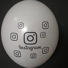 """Латексный шар с рисунком instagram белый 002 12 """"30см Belbal"""