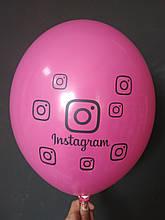 "Латексна кулька з малюнком instagram фуксія 010 12"" 30см Belbal"