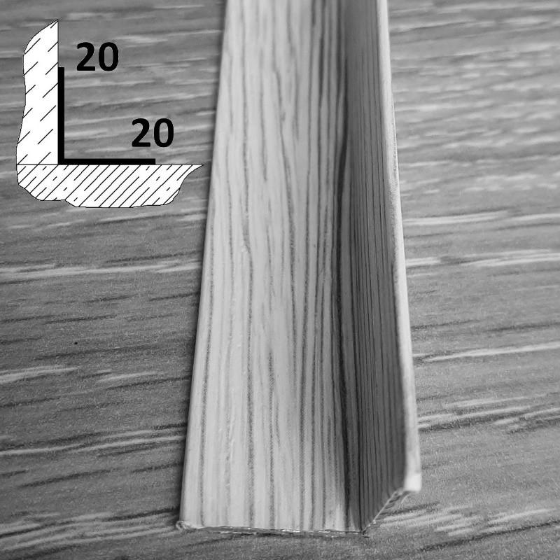 Внутренний алюминиевый декоративный угол 20 мм х 20 мм, длина 270 см