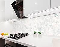 Кухонный фартук Рисунок карандашом Бабочки и Цветы (наклейка виниловая, скинали для кухни, самоклеющаяся пленка) серый, 600*3000 мм
