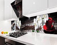 Кухонный фартук Ветка Орхидей и Зерна Кофе (наклейка виниловая, скинали для кухни, самоклеющаяся пленка) серый, 600*3000 мм