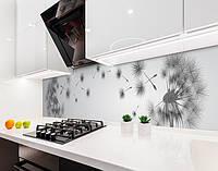 Кухонный фартук Одуванчик облетает (наклейка виниловая, скинали для кухни, самоклеющаяся пленка) цветы серый, 600*3000 мм