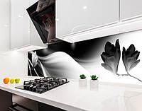 Кухонный фартук Магнолия Черно-белая (наклейка виниловая, скинали для кухни, самоклеющаяся пленка) абстракция, серый, 600*3000 мм