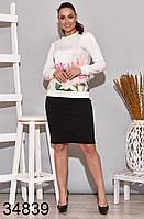 Женская белая кофта с цветочным рисунком р. 48-50, 52-54