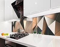 Кухонный фартук Преломление Треугольники (виниловая самоклеющаяся пленка для кухни скинали) абстракция бежевый, 600*3000 мм
