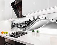 Кухонный фартук Черные глянцевые шары (наклейка виниловая, скинали для кухни, самоклеющаяся пленка) абстракция, серый, 600*3000 мм