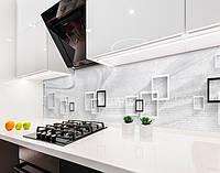 Кухонный фартук Бетонная абстракция (наклейка виниловая, скинали для кухни, самоклеющаяся пленка) геометрия, серый, 600*3000 мм