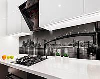 Кухонный фартук Огни подвесных мостов черно-белый (наклейка виниловая, скинали для кухни, самоклеющаяся пленка), серый, 600*3000 мм