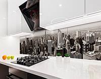 Кухонный фартук Серый Город Нью-Йорк (наклейка виниловая, скинали для кухни, самоклеющаяся пленка) небоскребы, серый, 600*3000 мм