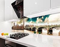 Кухонный фартук Облака над Лондоном (наклейка виниловая, скинали для кухни, самоклеющаяся пленка) Англия, серый, 600*3000 мм
