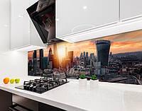 Кухонный фартук Утро в большом городе (наклейка виниловая, скинали для кухни, самоклеющаяся пленка) архитектура, серый, 600*3000 мм