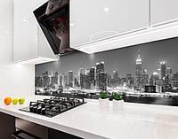 Кухонный фартук Ночной город в тумане (наклейка виниловая, скинали для кухни, самоклеющаяся пленка) панорама, серый, 600*3000 мм