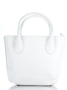 Женская итальянская натуральная кожаная сумка белая 25х22х12