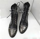 Кожаные ботинки на шнуровке с питоном и замками на носке, фото 2