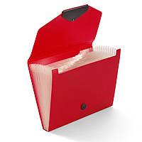 Папка для документов с 12 разделителями на кнопке, полипропилен, красная