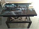 Стол трансформер Флай  белый  со стеклом ультрабелый, журнально-обеденный, фото 6