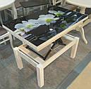 Стол трансформер Флай  белый  со стеклом ультрабелый, журнально-обеденный, фото 4