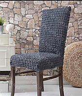 Набор чехлов натяжных 6 штук на стулья универсальный размер, крэш Турция темно-серый, графитовый