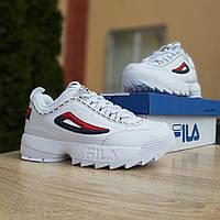 Кроссовки женские Fila Disruptor в стиле Фила Дисраптор, натуральная кожа, код OD-2977.Белые с красным и синим