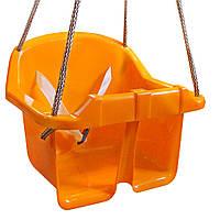 Детская качеля Малыш Технок 3015 Желтая   качелька для ребенка   пластиковая подвесная качеля