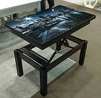 Стол трансформер Флай  венге магия со стеклом   04_123, журнально - обеденный