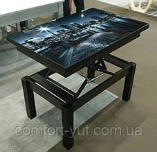 Стол трансформер Флай  венге магия со стеклом   04_123, журнальный обеденный