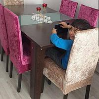Чехлы на стулья велюровые, набор 6 шт(Турция) Фуксия