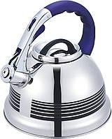 Чайник со свистком из нержавеющей стали Benson BN-711 (3 л), нейлоновая ручка, меняет цвет | свистящий чайник, фото 1